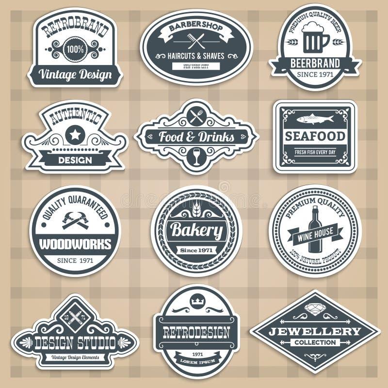 Emblemas retros fijados ilustración del vector