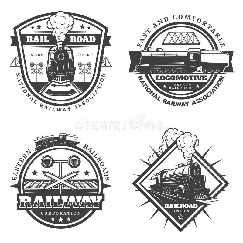 Emblemas retros monocromáticos del tren del vintage fijados stock de ilustración