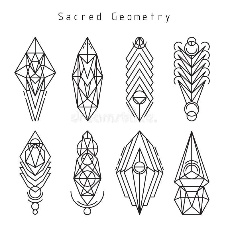 Emblemas sagrados lineares del vector libre illustration
