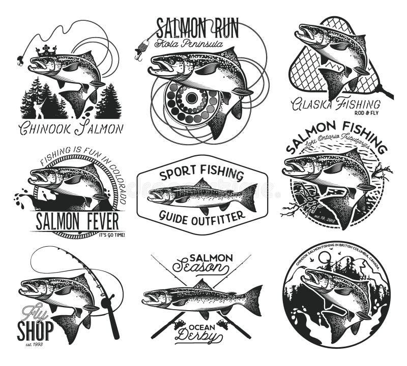 Emblemas salmon da pesca do vintage ilustração royalty free