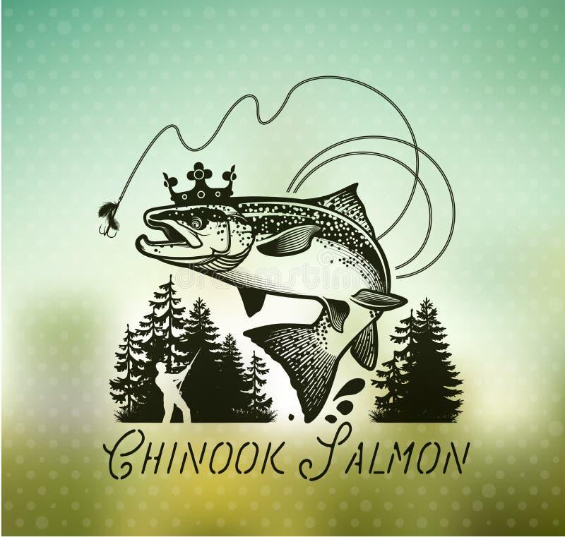 Emblemas salmon da pesca do vintage ilustração do vetor