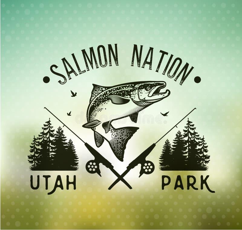 Emblemas salmon da pesca do vintage ilustração stock