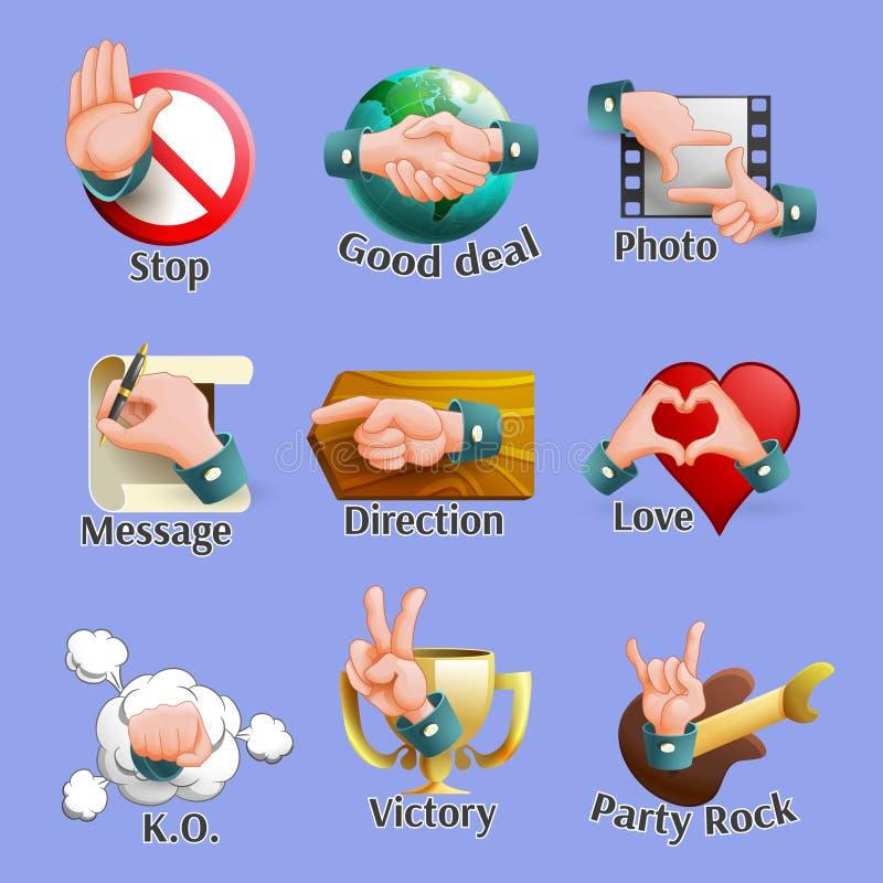 Emblemas sociales de los gestos del web fijados libre illustration