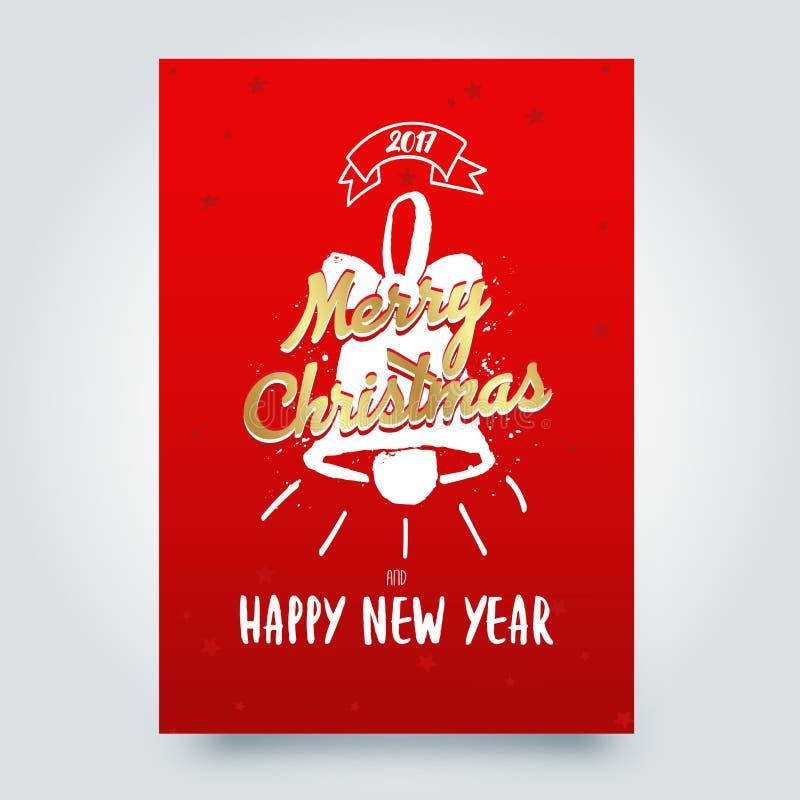 Emblemas tipográficos de la Feliz Navidad fijados El logotipo, los emblemas, los elementos, los iconos y el texto de Navidad dise stock de ilustración