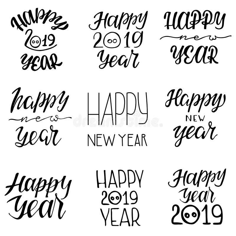 Emblemas tipográficos do ano novo feliz 2019 ajustados ilustração royalty free