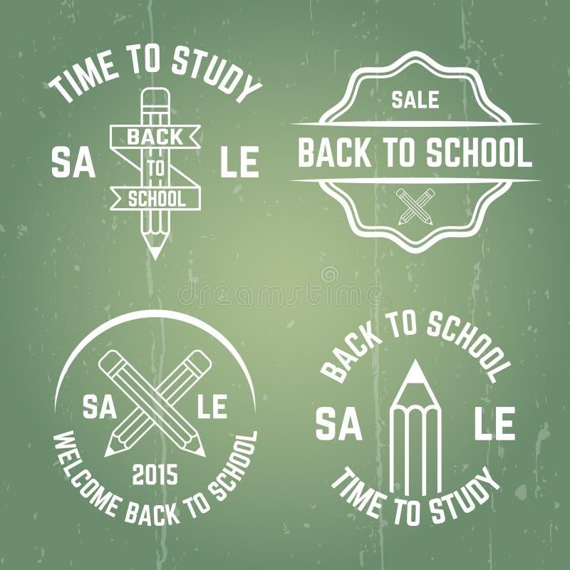 Emblemas tipográficos do vetor da escola, selos, crachás ilustração do vetor
