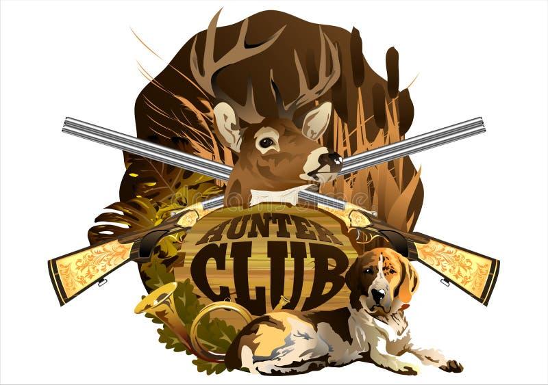 Emblemat łowiecki klub z głową rogacz, pies i pistolety, ilustracja wektor