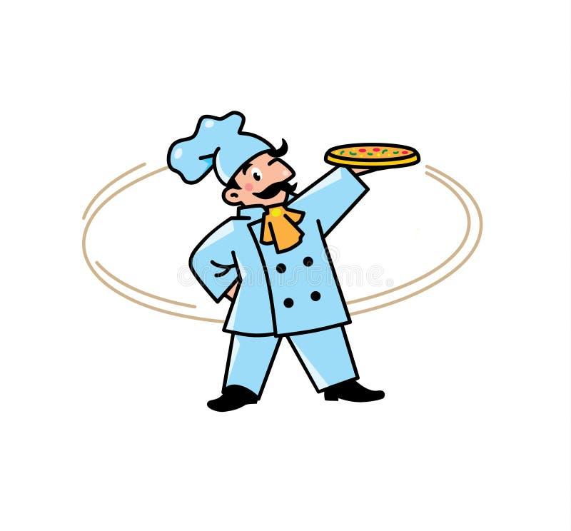 Emblemat śmieszny kucharz lub piekarz z pizzą royalty ilustracja