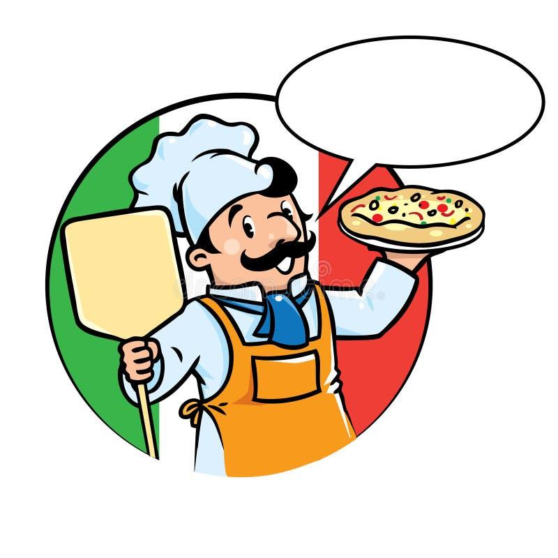 Emblemat śmieszny kucharz lub piekarz z pizzą ilustracji
