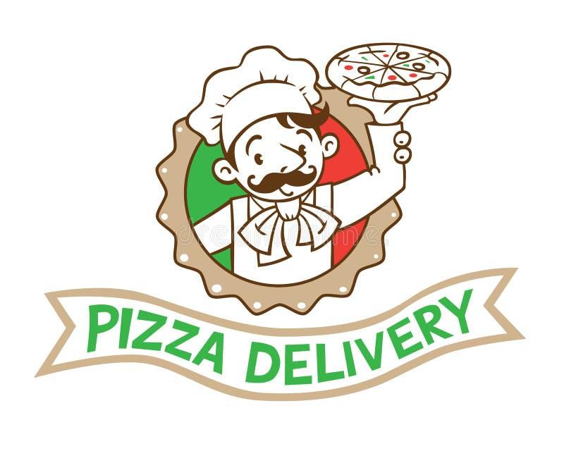 Emblemat śmieszny kucharz lub piekarz z pizzą i logem ilustracja wektor