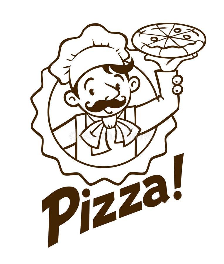 Emblemat śmieszny kucharz lub piekarz z pizzą i logem royalty ilustracja