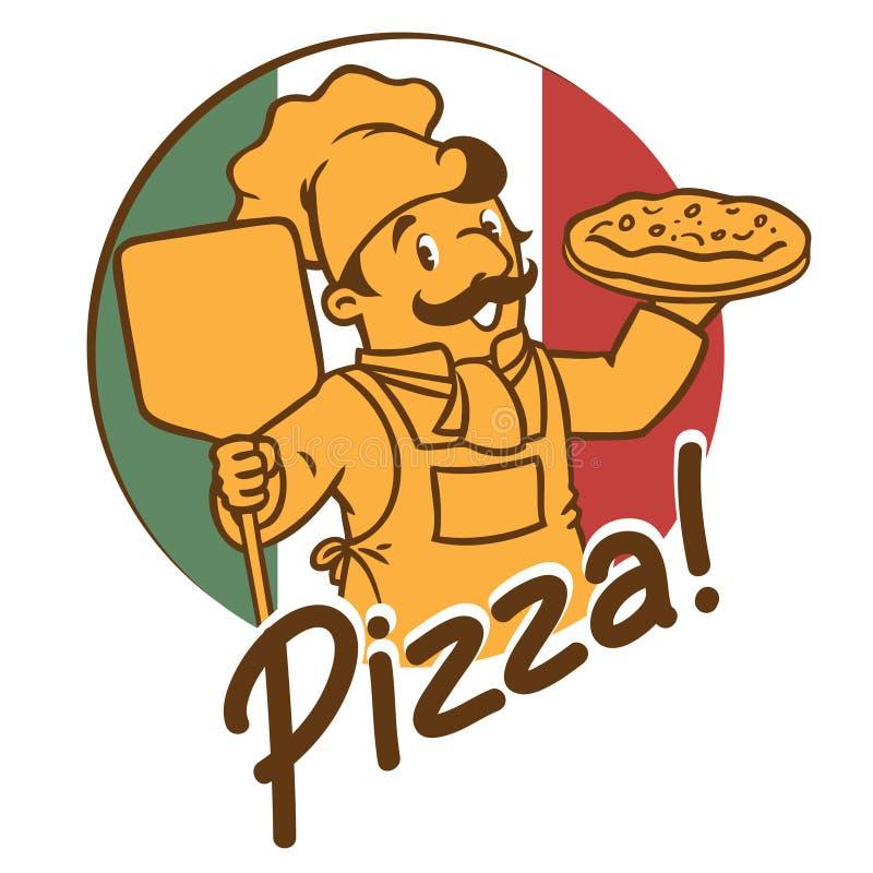 Emblemat śmieszny kucharza lub szefa kuchni o piekarz z pizzą royalty ilustracja