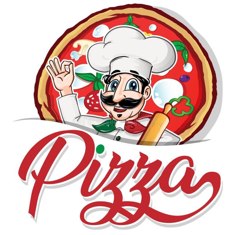Emblemat śmieszny włoski szef kuchni ilustracja wektor