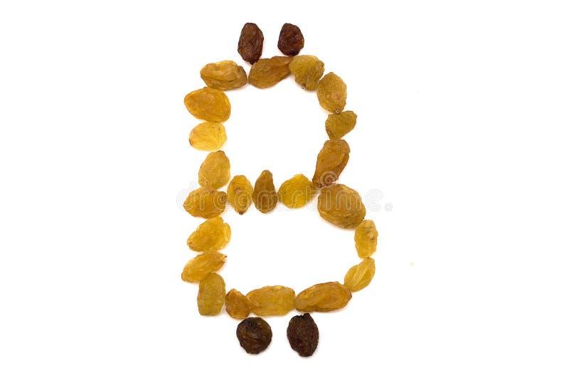 Emblemat bitcoin od rodzynek, na białym odosobnionym tle obraz stock