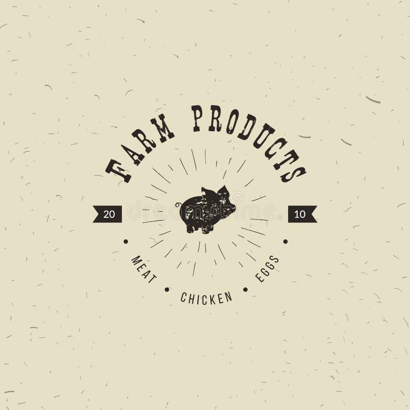 Emblemat Butchery mięsny sklep z Świniowatą sylwetką, tekst Butchery, Świeży mięso, produkty rolniczy Loga szablon dla mięsa ilustracja wektor
