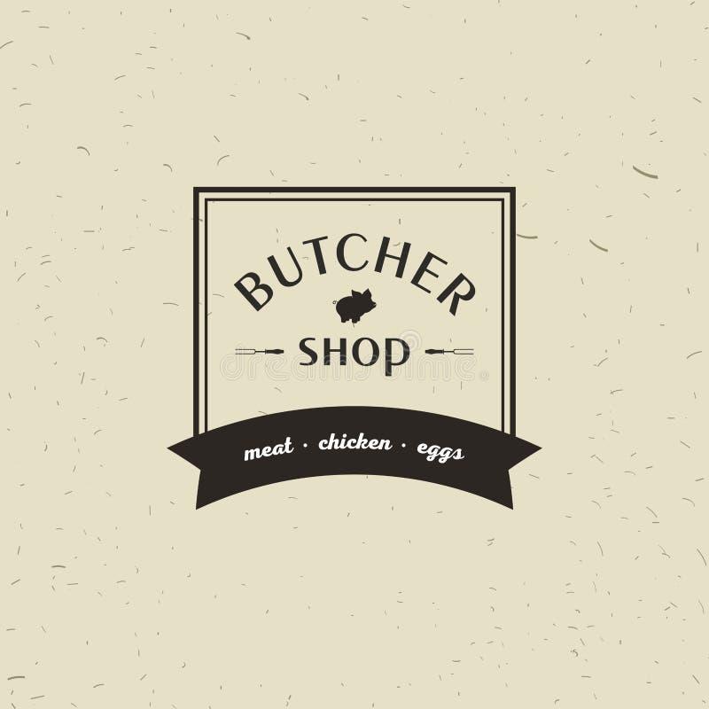 Emblemat Butchery mięsny sklep z Świniowatą sylwetką, tekst Butchery, Świeży mięso, produkty rolniczy Loga szablon dla mięsa royalty ilustracja