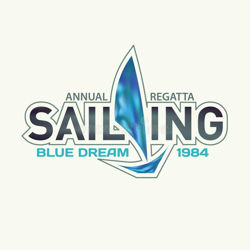 Emblemat dla żeglować regatta z błękitną żaglówką royalty ilustracja