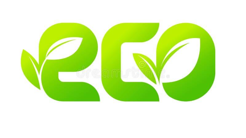 Emblemat ECO, zielony logo z liściem rośliny flanca dla etykietki, etykietka, pakować, odznaka lub ikona naturalny foo, organiczn royalty ilustracja