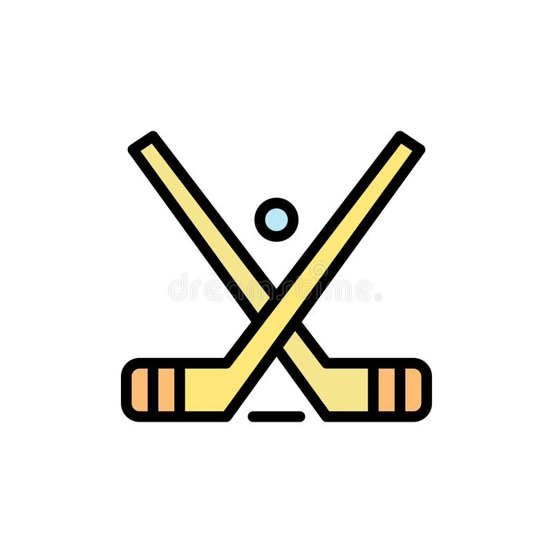 Emblemat, hokej, lód, kij, kija koloru Płaska ikona Wektorowy ikona sztandaru szablon royalty ilustracja