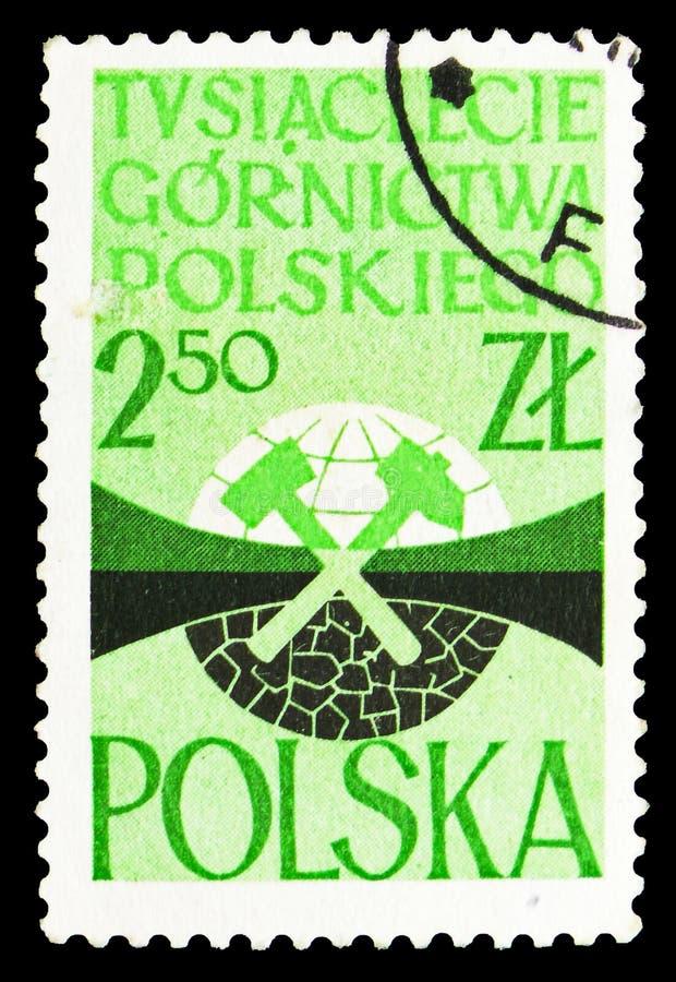 Emblemat Intlernational górników kongres, 1000 rok Polski przemysłu wydobywczego seria około 1961, royalty ilustracja