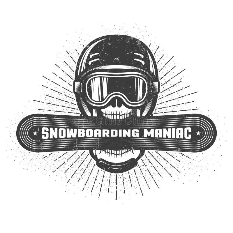 Emblemat jazdy na snowboardzie maniaczka ilustracji