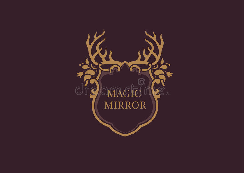 Emblemat magiczny lustro, poroże royalty ilustracja