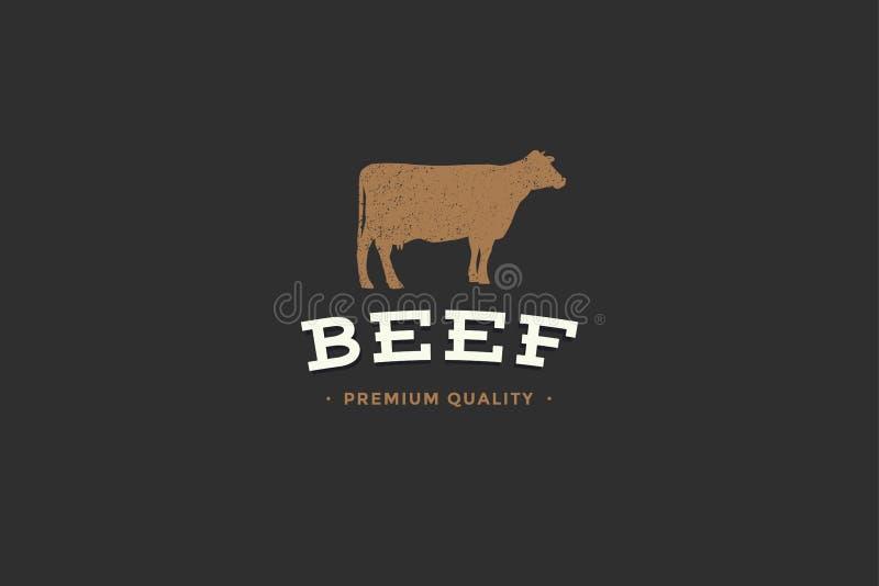 Emblemat masarka sklep z obrazkiem sylwetki krowy i writing wołowiny premii ilość ilustracja wektor