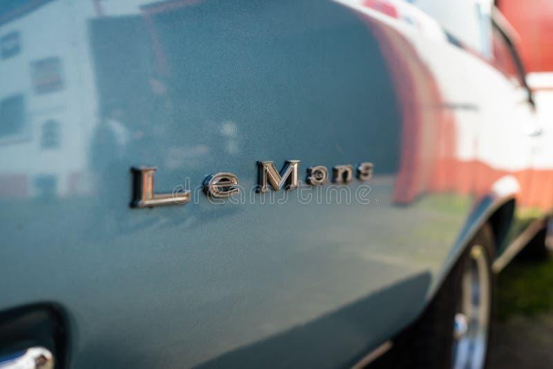 Emblemat rozmiar samochodowy Pontiac LeMans, 1967 fotografia royalty free