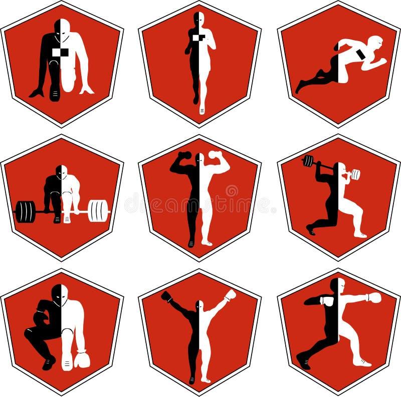 Emblemat z atletą, sporta logo biegacz na początku royalty ilustracja
