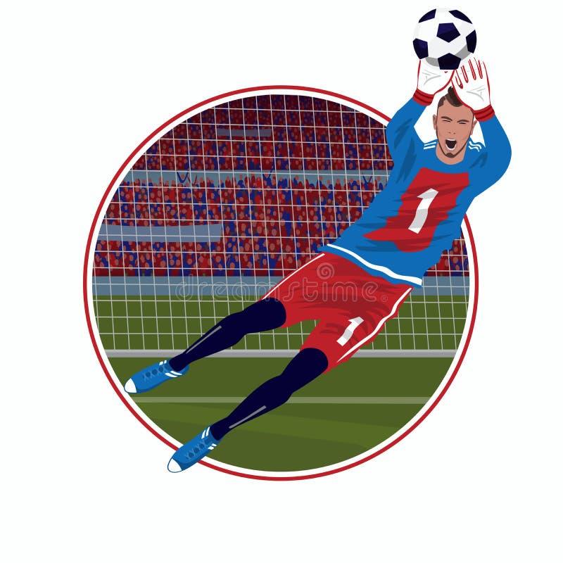 Emblemat z bramkarz chwytającą piłką ilustracji
