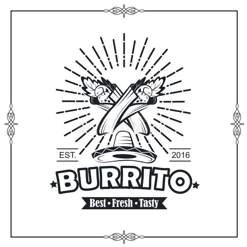 Emblemat z burrito ilustracji