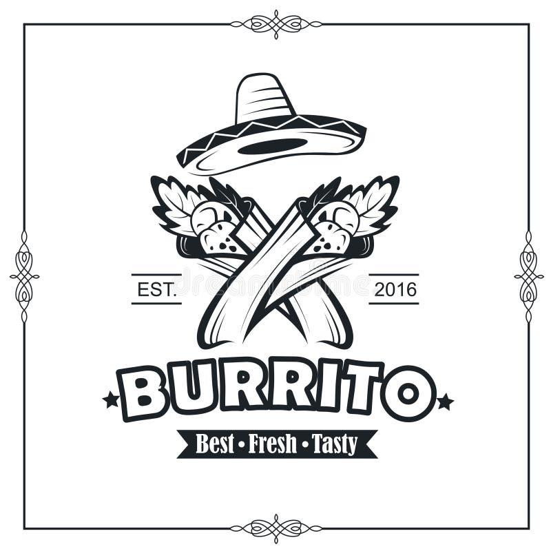 Emblemat z burrito ilustracja wektor