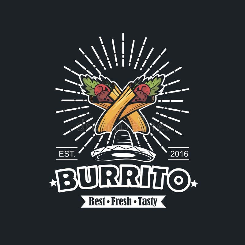 Emblemat z burrito royalty ilustracja