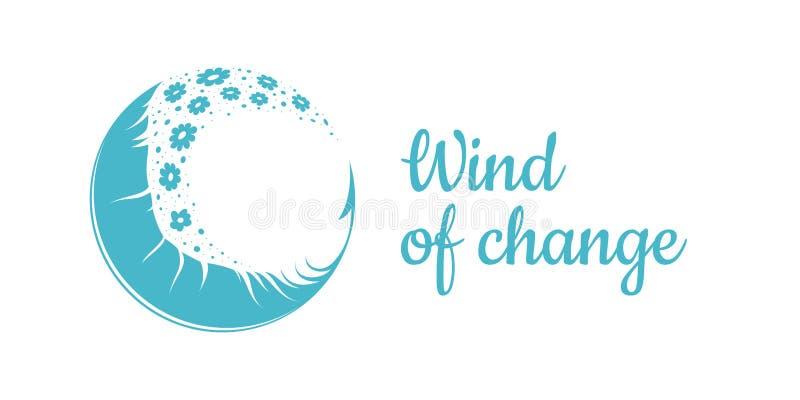 Emblemat z piórkiem i kwiaty lata w wiatrze na przejrzystym tle Wektor szyldowy EPS10 ilustracji