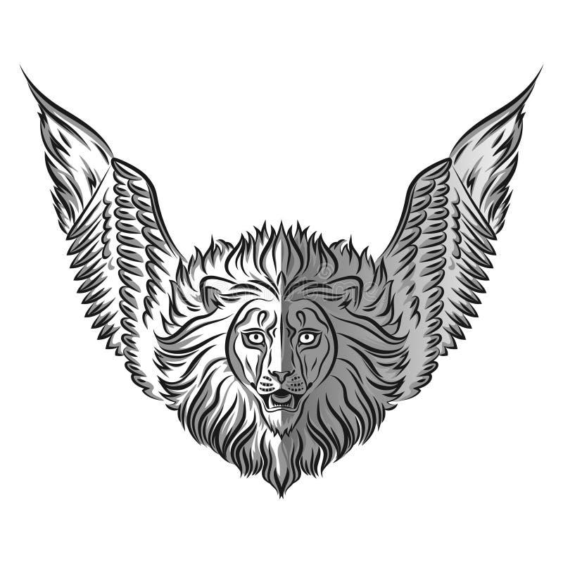 Emblemat z wizerunkiem lew z skrzydłami royalty ilustracja