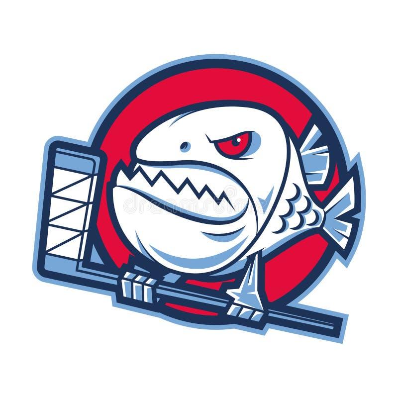Emblemata agresywny piranha trzyma hokejowego kij royalty ilustracja