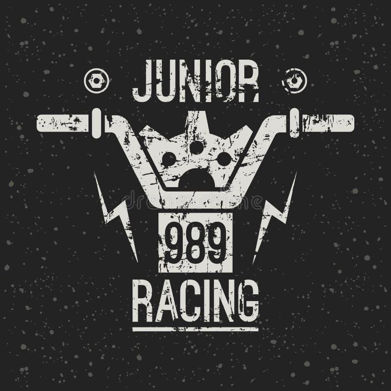 Emblemata motocyklu bieżny junior ilustracji