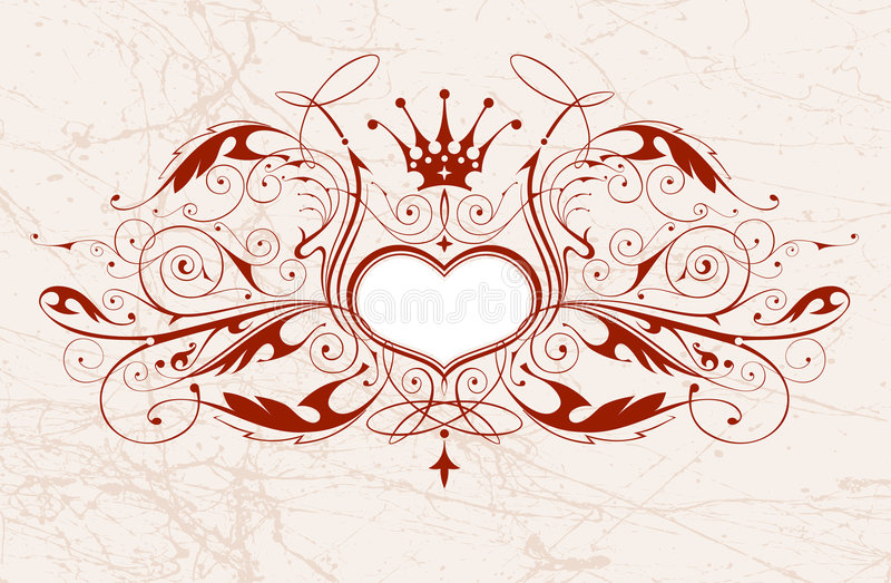 emblemata rocznik serca royalty ilustracja