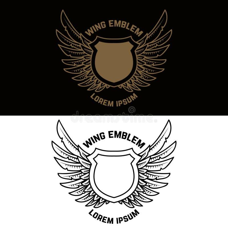 Emblemata szablon z oskrzydloną osłoną Projektuje element dla etykietki, znak, logo, sztandar ilustracja wektor