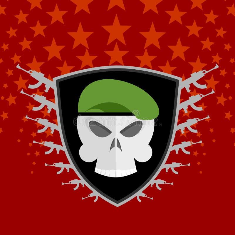 Emblemata wojskowy Czaszka beret z broniami royalty ilustracja