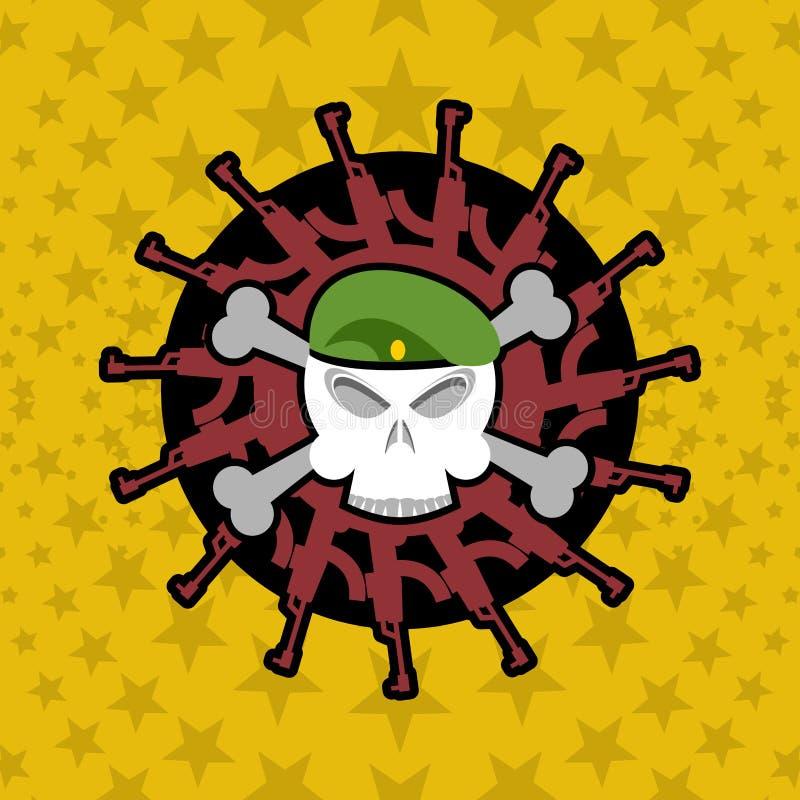 Emblemata wojskowy Czaszka beret z broniami ilustracji