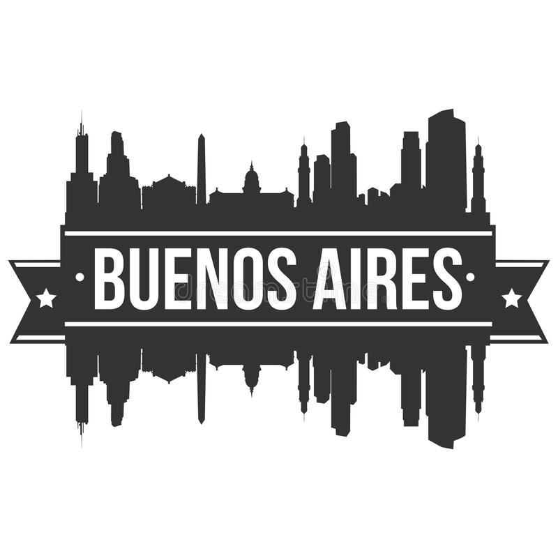 Buenos Aires Argentina South America Icon Vector Art Design Skyline Flat City Silhouette Editable Template stock illustration