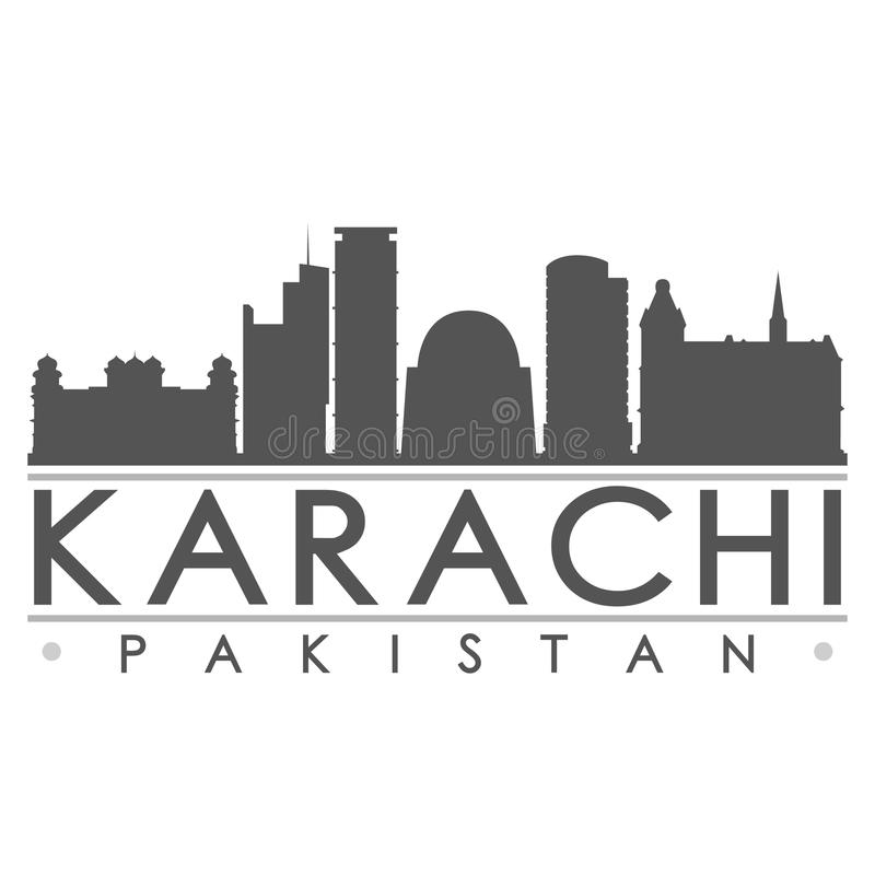 Karachi Pakistan Asia Icon Vector Art Design Skyline Flat City Silhouette Editable Template. A emblematic elements of this city, template vector icon building stock illustration