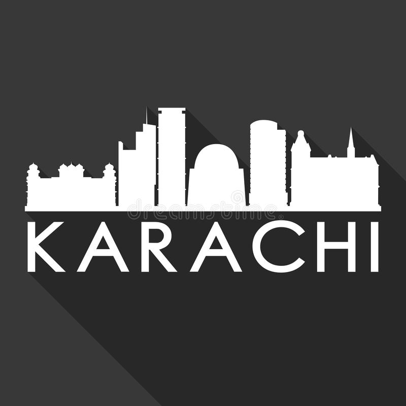 Karachi Pakistan Asia Icon Vector Art Flat Shadow Design Skyline City Silhouette Template Black Background. A emblematic elements of this city, template vector royalty free illustration