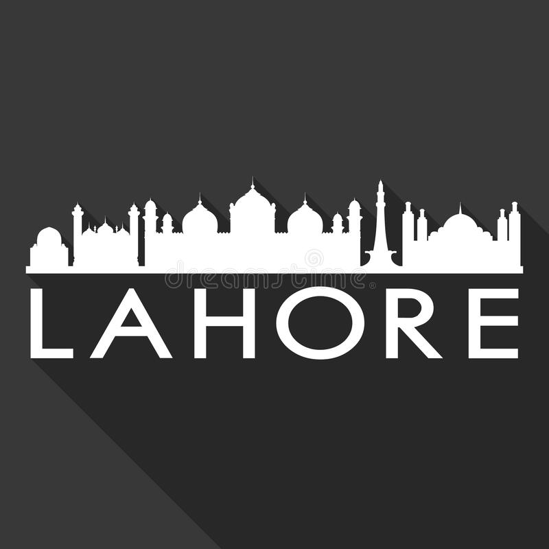 Lahore Pakistan Asia Icon Vector Art Flat Shadow Design Skyline City Silhouette Template Black Background. A emblematic elements of this city, template vector stock illustration