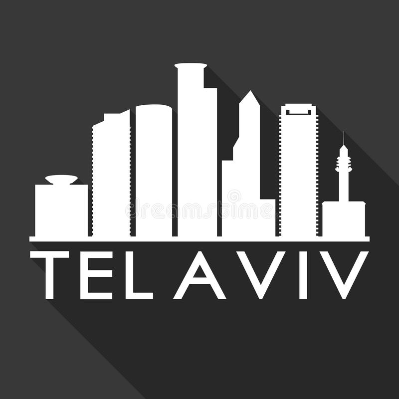 Tel Aviv Israel Asia Icon Vector Art Flat Shadow Design Skyline City Silhouette Template Black Background vector illustration