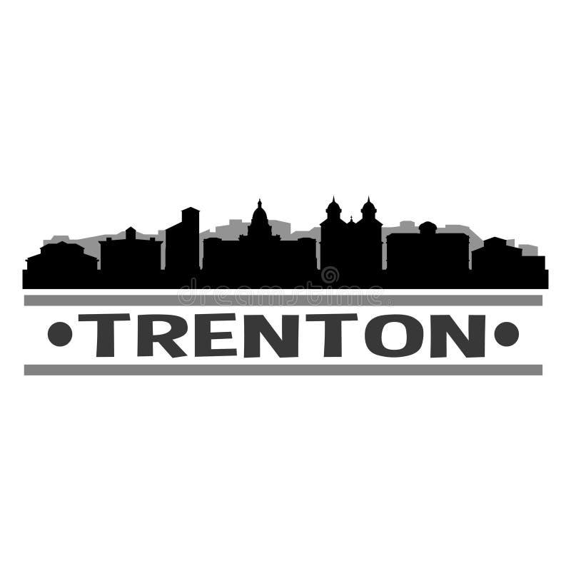 Trenton New Jersey United States Of America USA Icon Vector Art Design Skyline Night Flat Shadow royalty free illustration