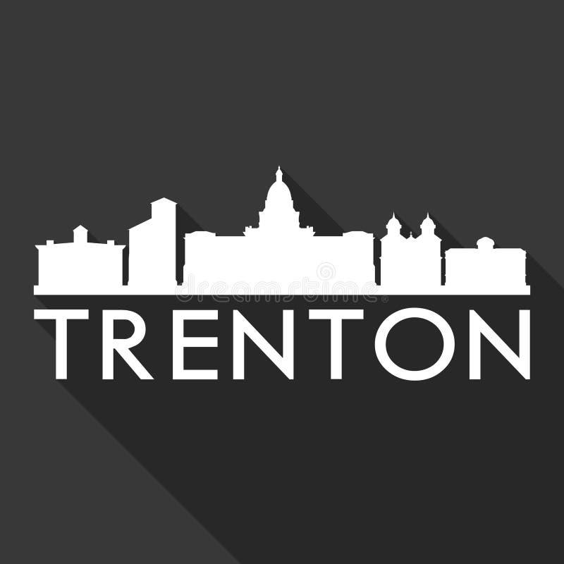 Trenton New Jersey United States Of America USA Icon Vector Art Flat Shadow Design Skyline City Silhouette Black Background vector illustration