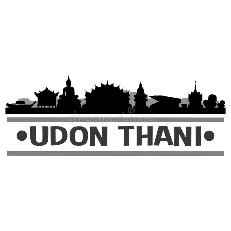 Udon Thani Thailand Asia Icon Vector Art Design Skyline Night Flat Shadow royalty free illustration
