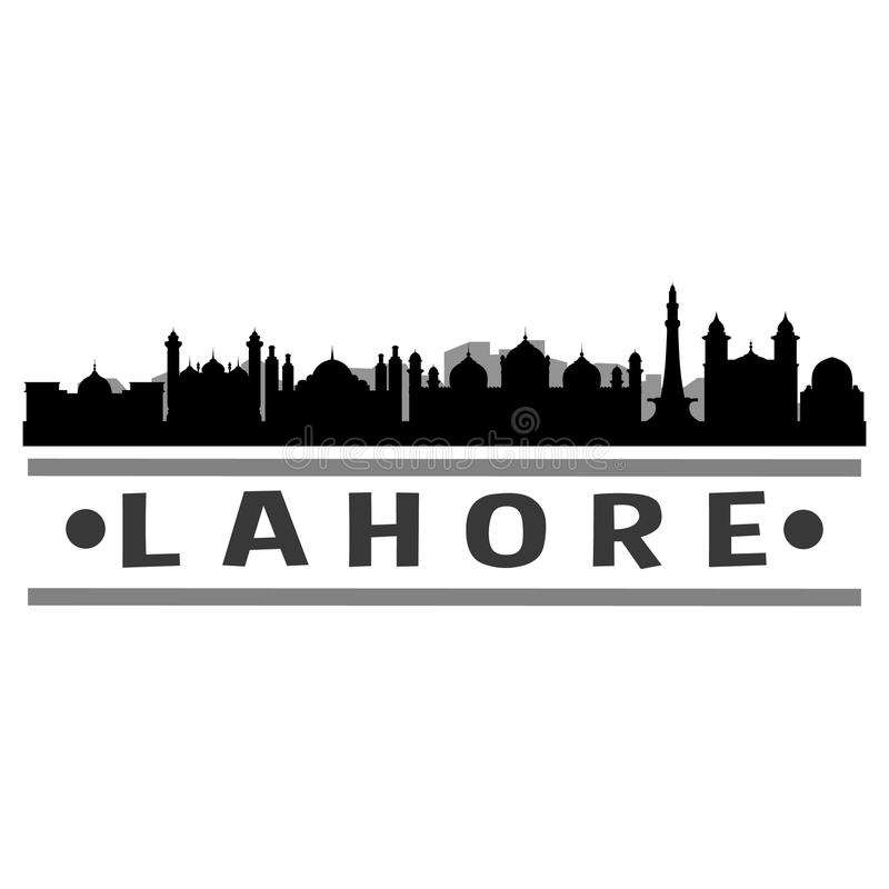 Lahore Pakistan Icon Vector Art Design Skyline Night Flat Shadow. A emblematic elements of Pakistan Lahore with its emblematic elements black background flat stock illustration